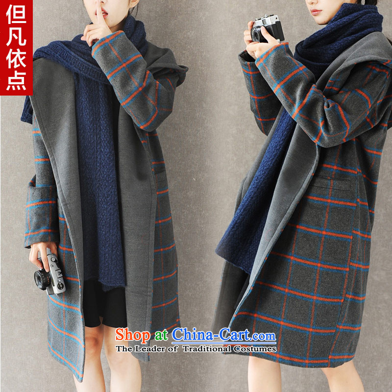 But the point where in the?autumn and winter 168_2015 new Korean large grid in reverse collar long cap gross gray jacket is  ?S