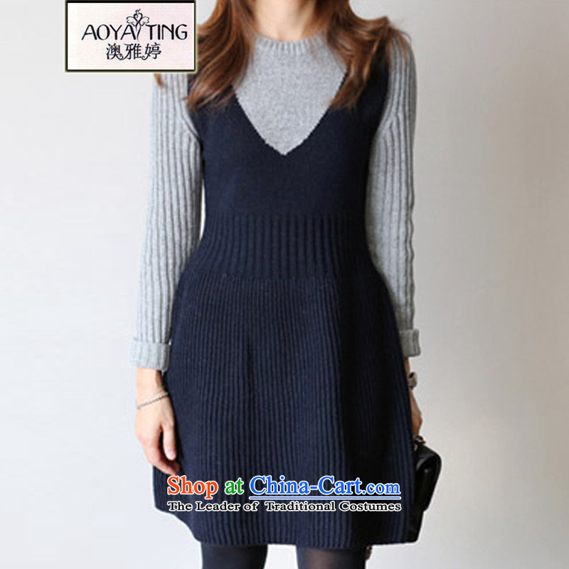 O Ya-ting to increase women's code 2015 autumn and winter new thick mm thin spell color graphics knitting sweater, forming the Stretch Dress Female5266 picture color�L爎ecommends that you 160-180 catty