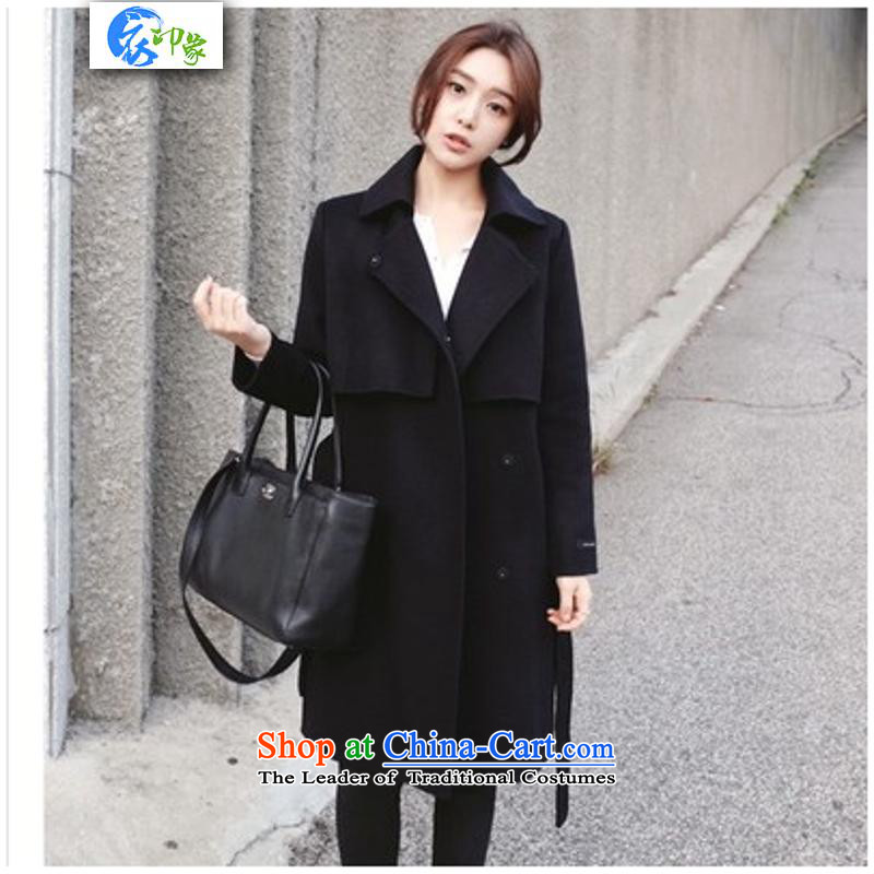 Yi impression of winter clothing new 2015 Korean version of Sau San a wool coat in long Foutune of gross overcoats female S6989? Black M