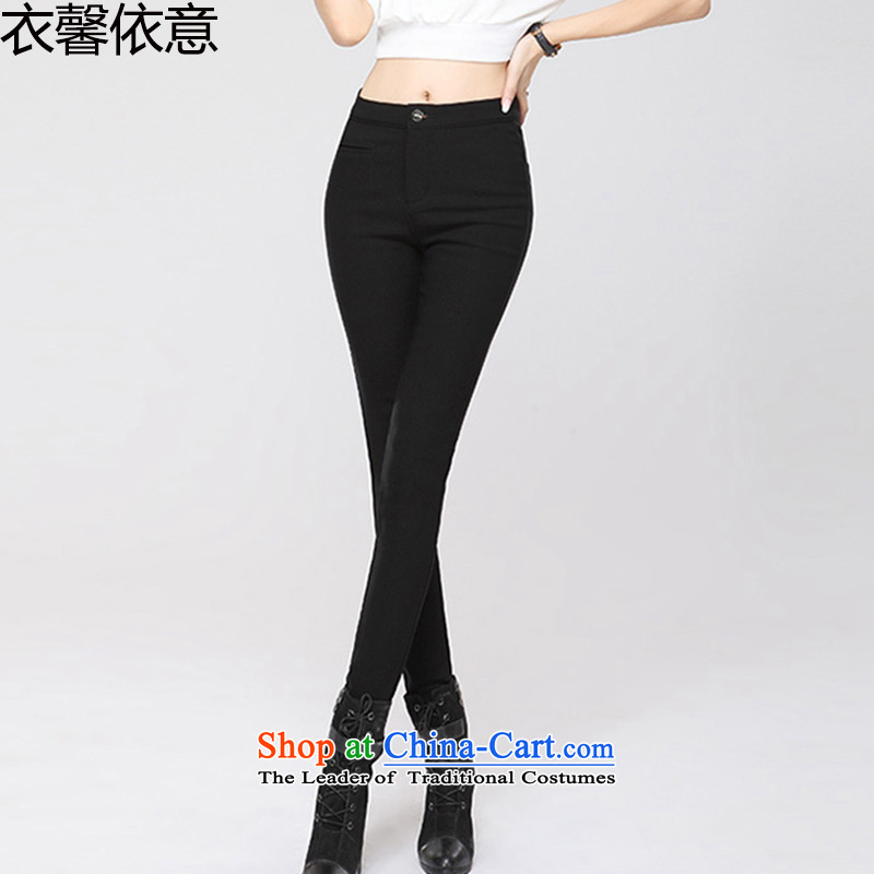 According to the Italian Xin Yi Code women 2015 autumn and winter new plus large Top Loin of lint-free women wear trousers female Y436 castor black 29
