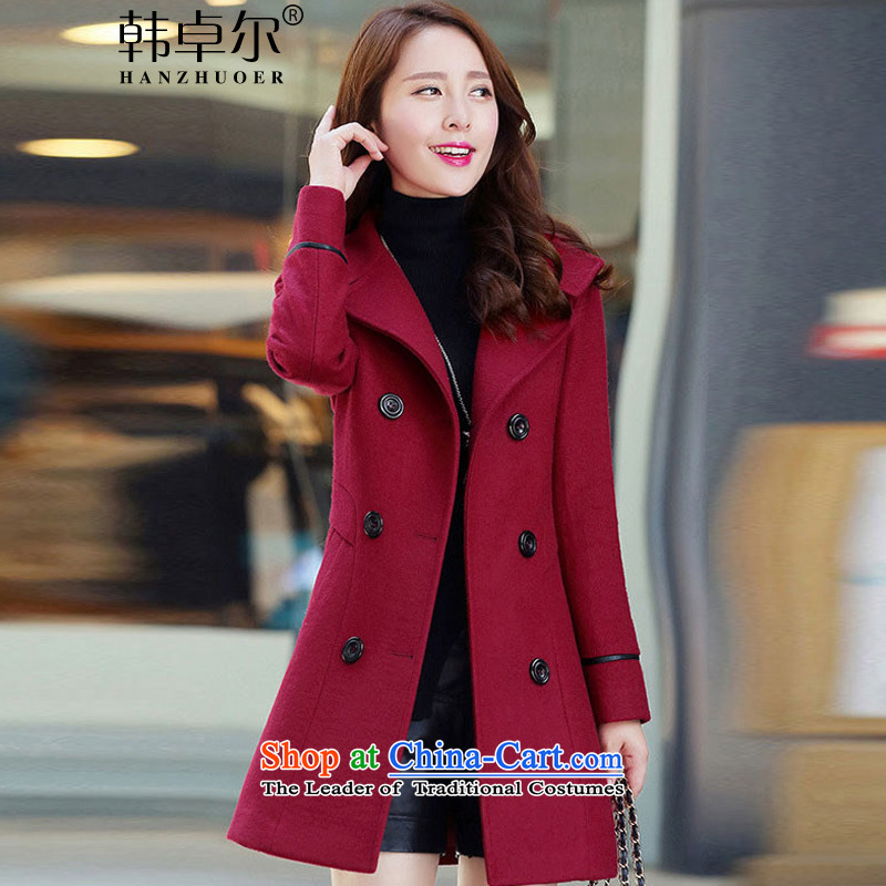 Korea's�15 Autumn new Korean fashion in the Sau San long large female double-a wool coat X3335燲XXL wine red
