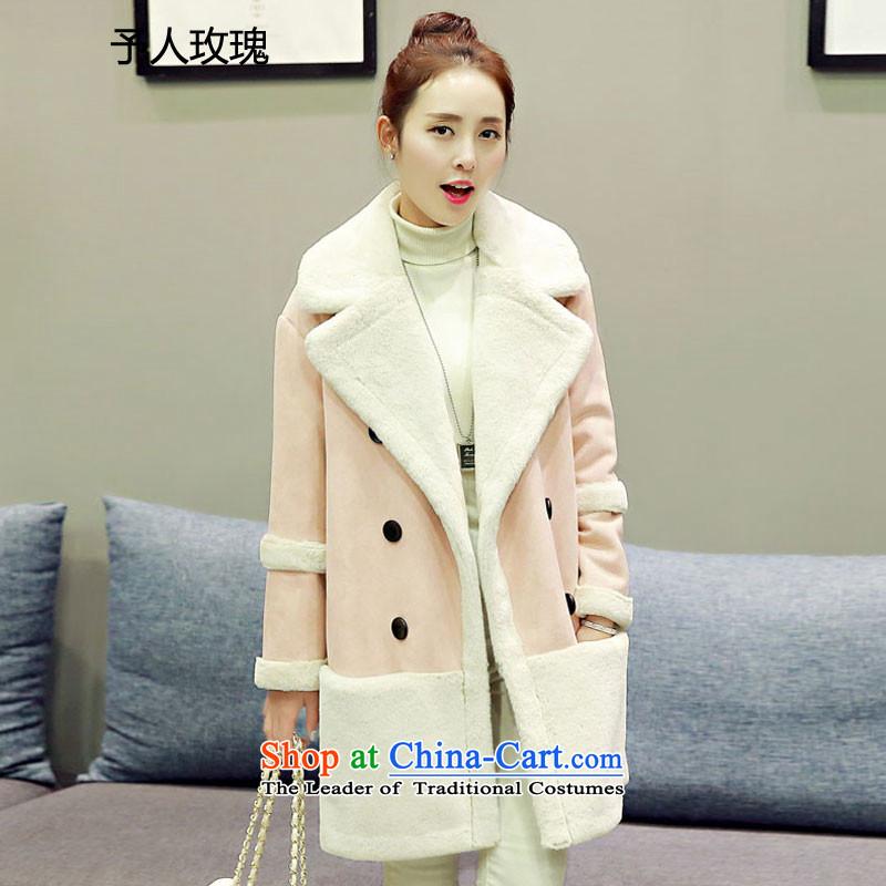 To Rose of autumn and winter 2015 new gross girls jacket? Long Korean Sau San? coats lamb skin powder coat Maomao?M