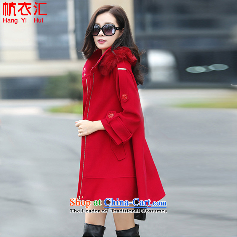 Alejandro Toledo yi hui 2015 autumn and winter coats gross new? Korean video in thin long Sau San, a female 13397a jacket large red燣