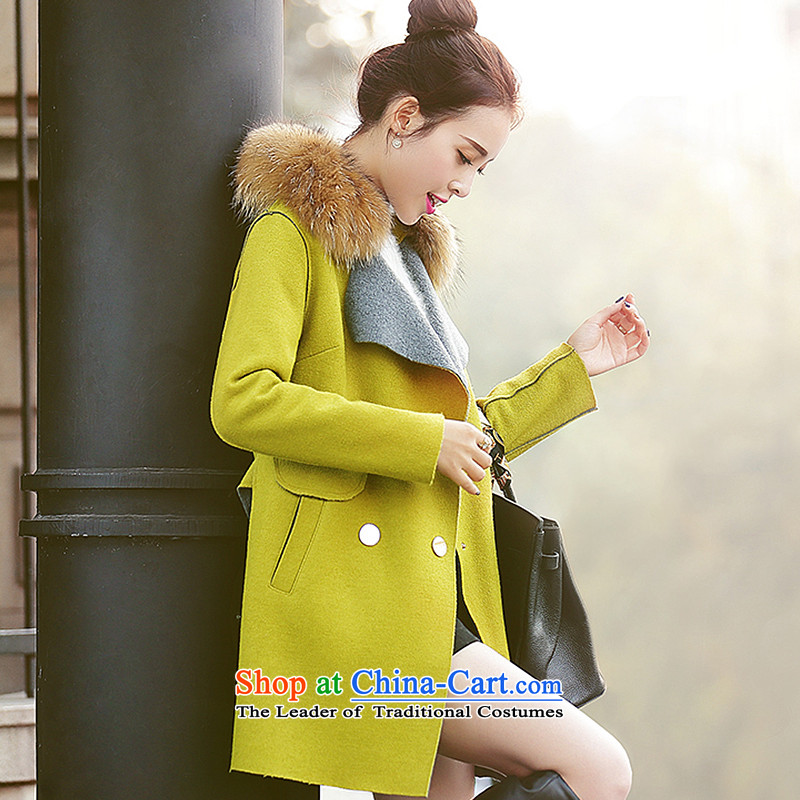 Wooden Geun-hye in long thin large Maomao Sau San video? jacket female 9080 Qiu Xiang M_160_84a_ green