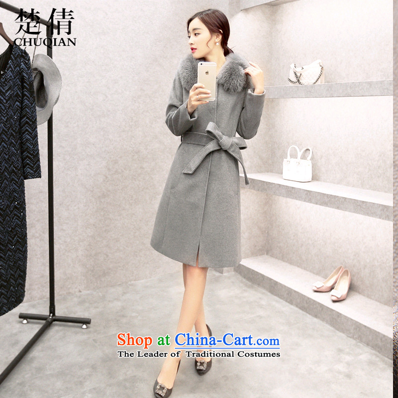 Chu Chien聽2015 winter clothing new nagymaros for Sau San tie a wool coat gray聽XXL
