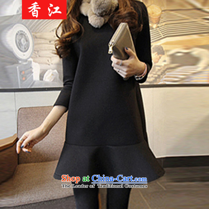 Xiang Jiang thick winter 2015 sister new larger women forming the thin clothes on video winter clothing in mm long) lint-free thick long-sleeved skirt was 6,352 large black 3XL