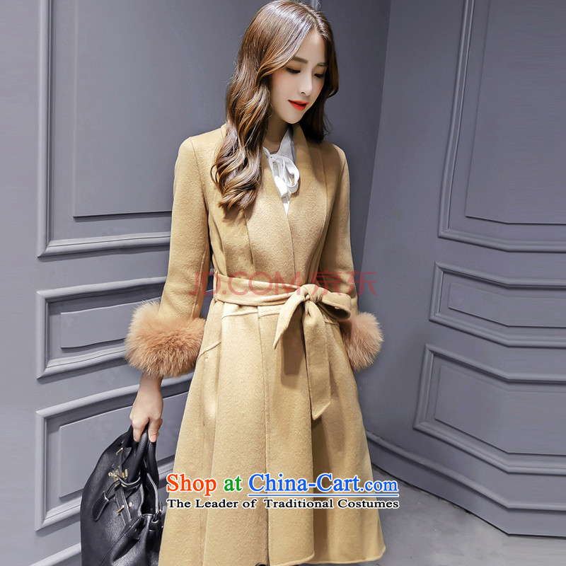 Sin has beendecorated in 2015 new women's temperament as graphics thin v-neck in the autumn and winter coats that can warm long hair? jacket girls   m card its  M