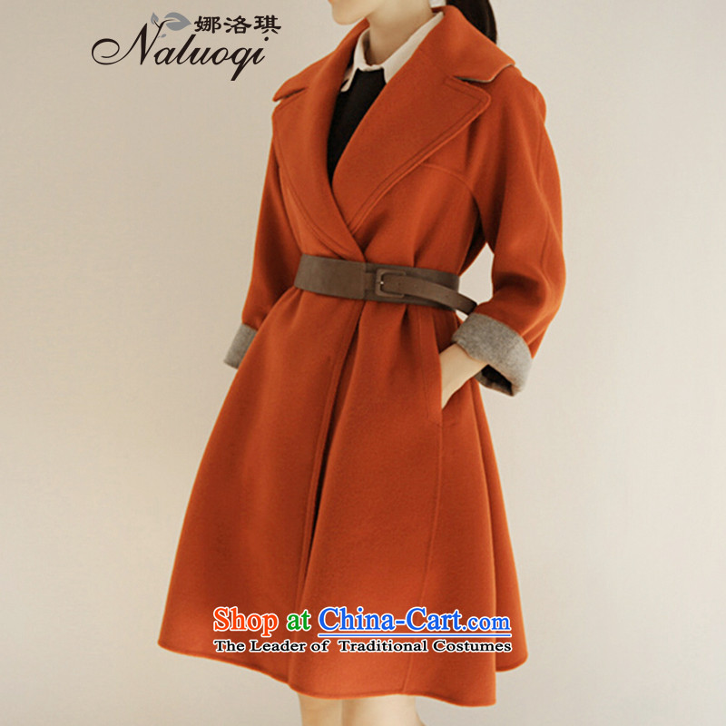 2015 winter clothing new Women's jacket coat women gross relaxd? Korean girl in gross? jacket long coats_? Orange Red S