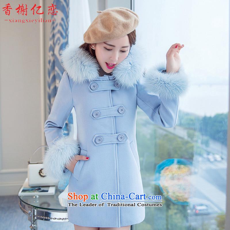Champs billion Land 2015 Autumn new gross coats female hair? for Pocket Korean female jacket is   Gross X688 aqua-blue聽XL