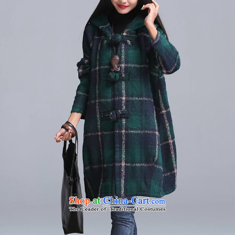 Equipment for winter clothing with cap large female latticed wool coat greenL?