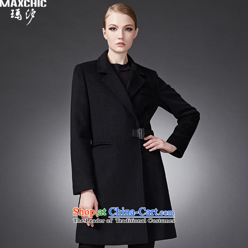 Winter classic leather deduction maxch2015 suit in the trendy Sau San long coats of $22672 black jacket?L