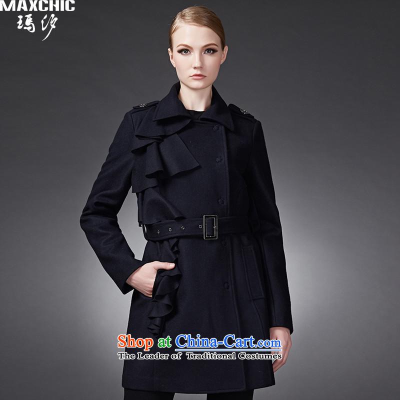 2015 winter Princess Hsichih maxchic modern edging puzzle pieces? coats jacket Sau San Mao 22682 blueL