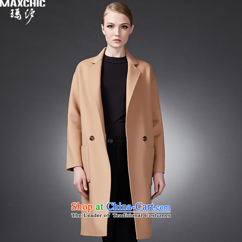 2015 winter Princess Hsichih maxchic simple elegance suit for double-double-side of the auricle of the transition woolen coat jacket and color L 22712