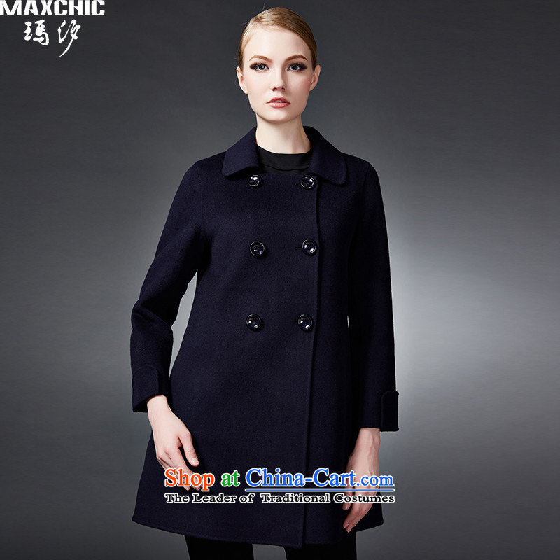 2015 winter Princess Hsichih maxchic high-end fashion, double-double-side woolen coat jacket 22822 blue L