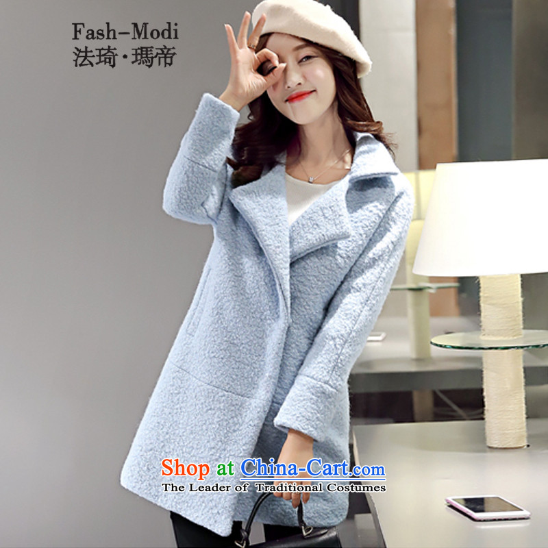 The law was in Dili Gross Qi? 2015 autumn and winter coats women for women in the new long Korean Modern graphics thin thickened Sau San lapel gross flows of female jacket coat? light blue M. plus cotton
