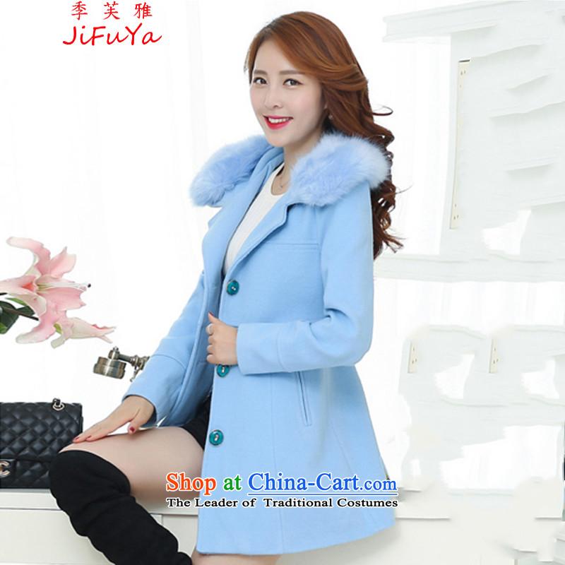 Quarter to Jacob autumn and winter 2015 new) Long Nagymaros collar Korean windbreaker winter coats women1802 gross?XXXL skyblue clocks