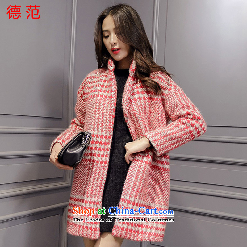 Van de� 2015 Women's new women's new Korean loose video in thin long a wool coat cocoon-thick wool coat women? Ruby Red燤