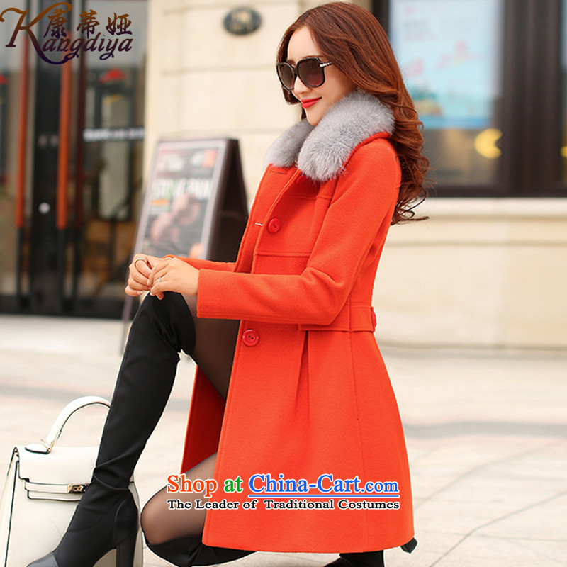 Contee Tarja Halonen of autumn and winter 2015 new women's Korea version in the thin long graphics Sau San Gross Gross for a wool coat 9631 Orange Red燲L