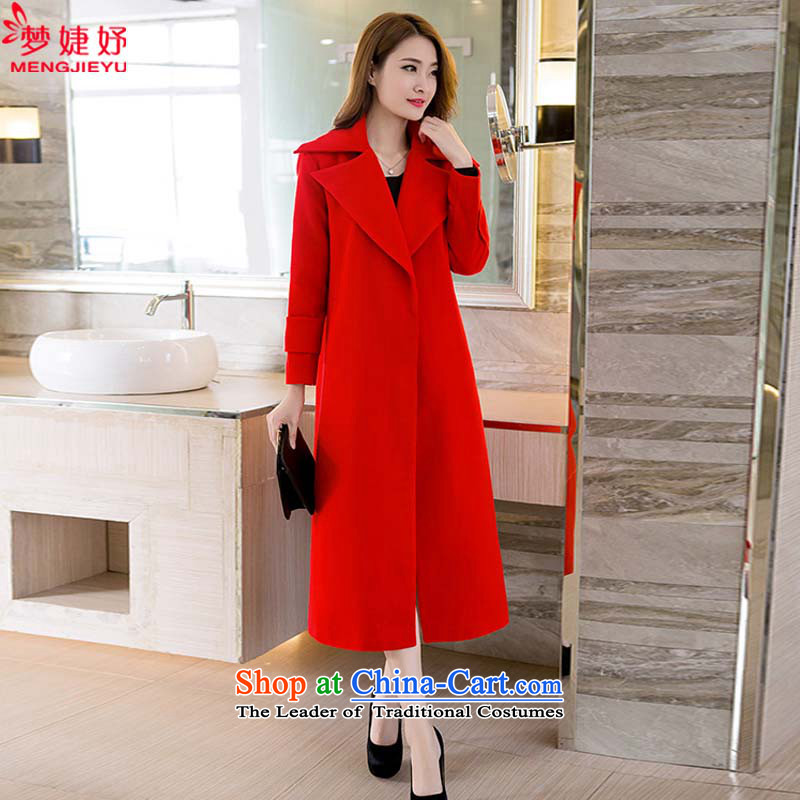 The approximate totals Korean Dream involving 2015 winter clothing new European site thick long lap Sau San wool jacket? a wool coat female red S