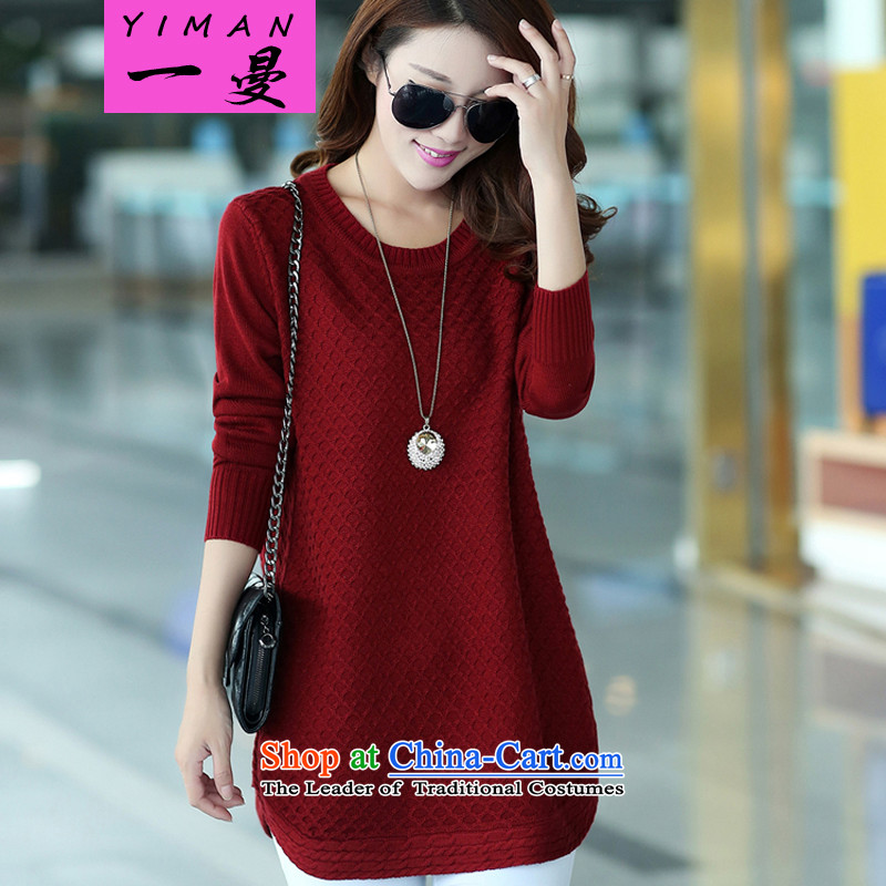 A large Cayman Women Fall/Winter Collections sweater thick mm long-sleeved shirt thick girls' Graphics thin, long, thick sister Sau San knitwear 158 wine red 3XL recommendations about 160-180