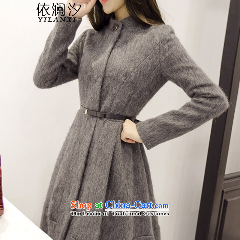 In accordance with the European site 2015 World Hsichih autumn and winter new gross? female Sau San foutune jacket video in the thin long a wool coat female 8,198 gray燲XL aristocratic temperament