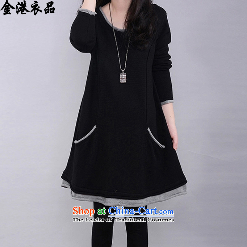 Kim Hong Kong garment products on Winter 2015 new larger women to increase expertise mm plus video and slender, lint-free Thick coated knit sweater female amounted blackL