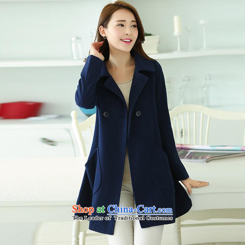 Yi Jin Long in commodities cloak-jacket coat gross? navy NRJ8869 M