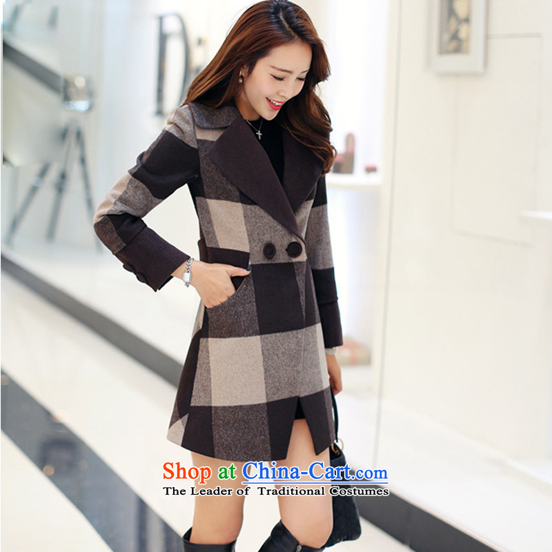Sin has爊ew winter 2015 stylish look of Sau San video thin warm lapel Korea version long double-plus cotton waffle gross? female plus cotton thickened coats and coffee-colored grid�    XL