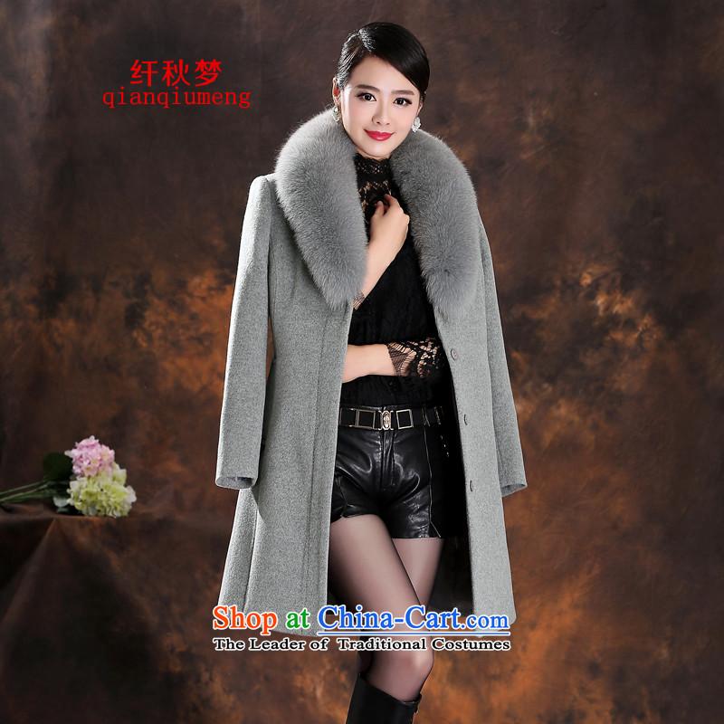 The former Yugoslavia autumn 2015 new beauty of Korean commuter wild video women thin winter coats 7-920 cashmere Light Gray燣