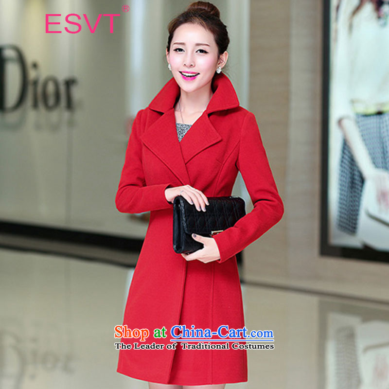 Female jackets 2015 ESVT winter new western style temperament Sau San graphics plus thin cotton waffle warm in the long hair? coats female red plus cotton M
