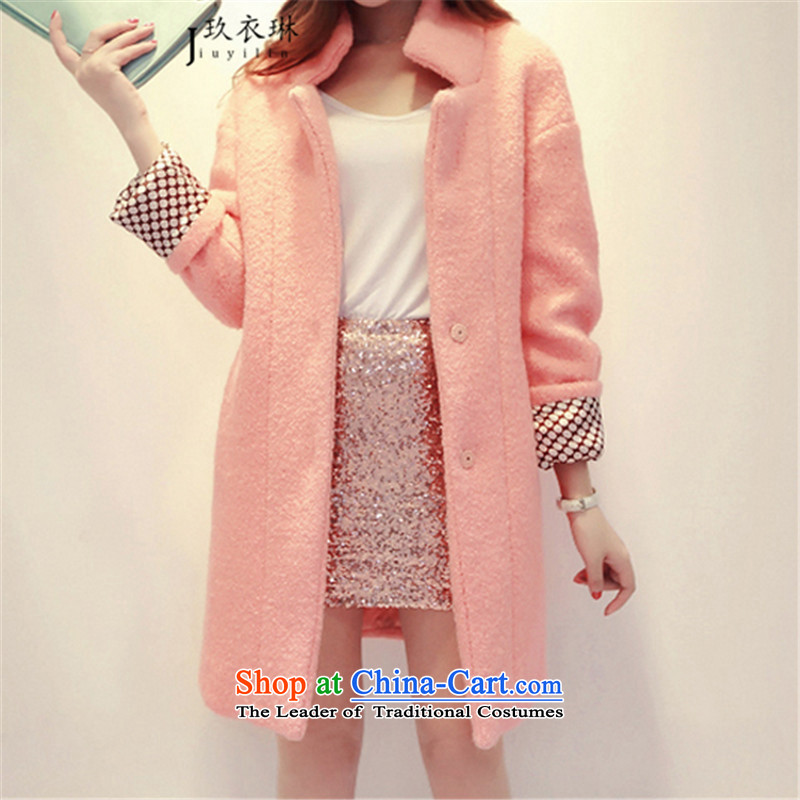 Ko Yo Yi Lin�15 autumn and winter new candy colored a wool coat in the Korean version of long hair? coats female Sau San temperament jacket pink燤