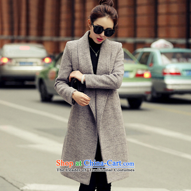 Pure color in long Sau San Lapel Warm gray overcoat so gross聽M