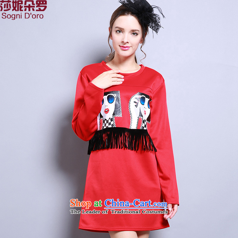 Luo Shani flower code women for winter thick sister to intensify the graphics thin long-sleeved stitching thick mm dresses red2XL- pre-sale within 3 days of the Shipment