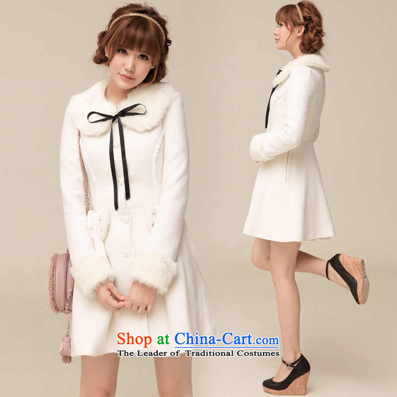 Ha-na (shinena)2013 autumn and winter new sweet princess wind long sleeve can be shirked Gross Gross coats, then for women 0264 White M coat