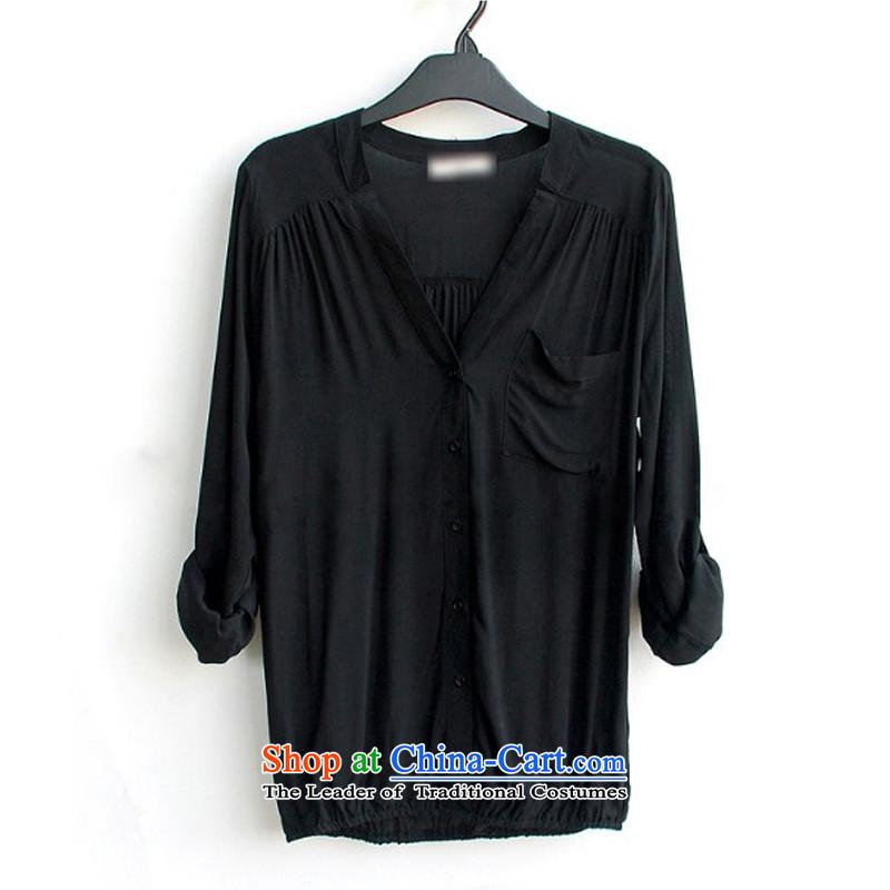 Large feelnet female Korean chiffon shirt thick mm spring XL NEW SHIRT聽518聽Black聽M code