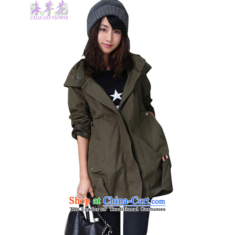 The sea route to spend a relaxing pure cotton Korean autumn and winter coat 2BMK-M large green燲L