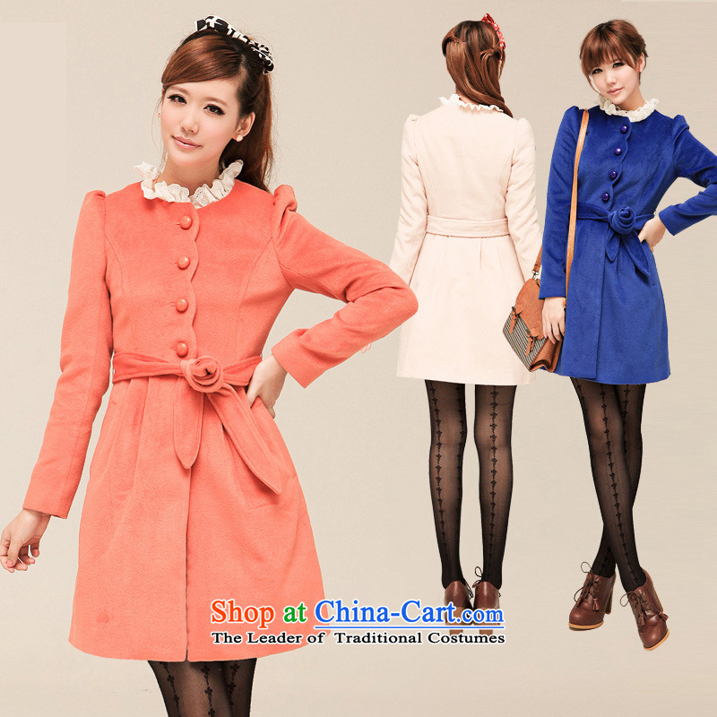 Shinena_ Ha-na�13 autumn and winter new women's single row deduction of wool coat?   COAT 0351 Floorcare orange燤