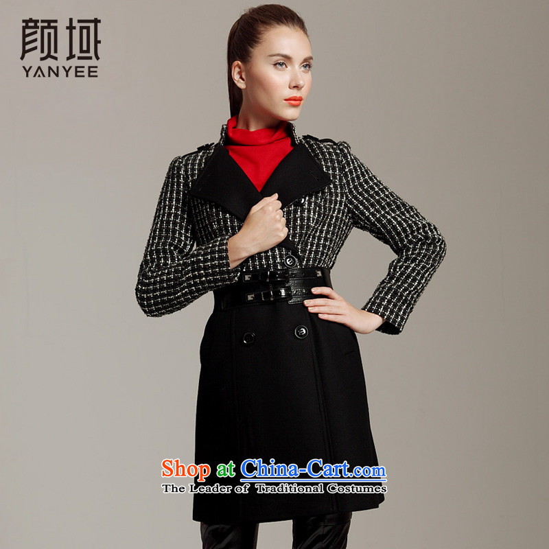 Mr Ngan Domain�12 YANYEE燼utumn and winter new warm jacket thickness is in bold _ plaid coats 04W2061 female black燬