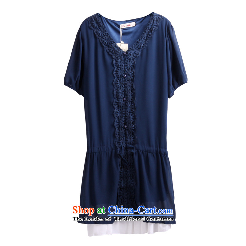 Clearance爁eelnet thick mm summer Korean Spring 2015 Summer chiffon large short-sleeve loose V-Neck xl dresses 686 Blue�L-48 code
