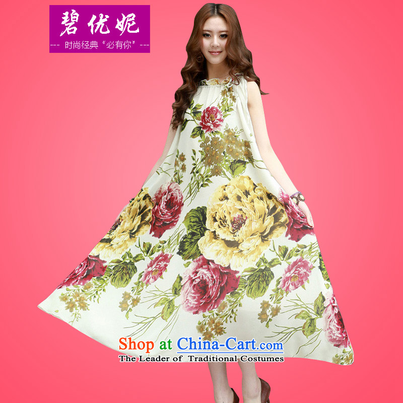 Connie to optimize Pik-XL female thick mm200 catty Bohemia long skirt Sau San emulation chiffon silk dresses summer sleeveless jacket skirt 20926 large white numbers for the code - recommendations 110-280 catty