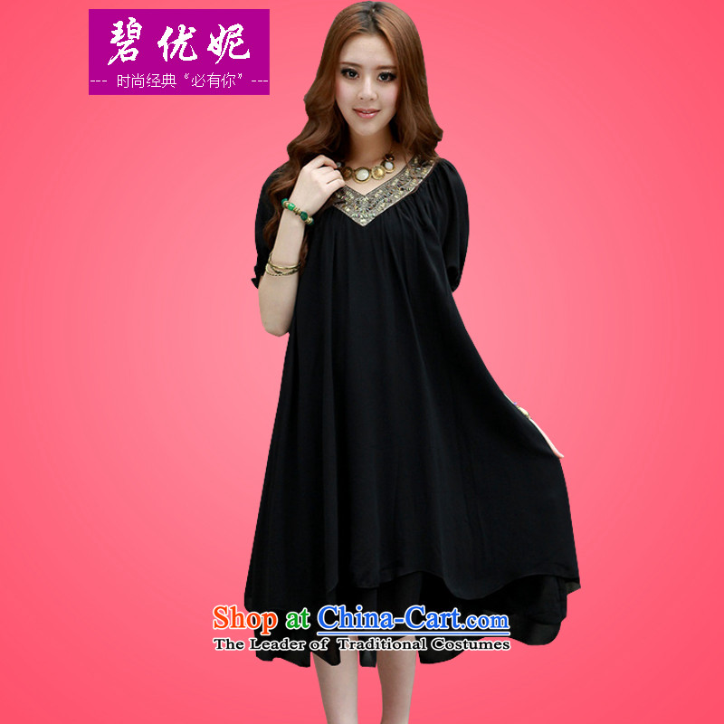 Optimize new Connie Pik-AD to increase women's summer code mm thick Korean loose video thin short-sleeved in long emulation chiffon silk dresses BW20912 black?XXL recommendations 145-160 catty