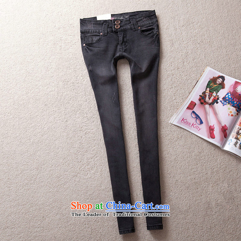 Thick sister 2015 Summer feelnet new to video thin Korean Harun trousers female castor trousers xl jeans 672� _2 ft black75_