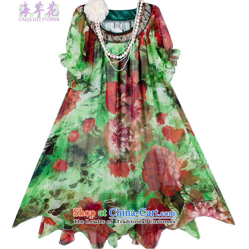 The sea route to spend the summer new Korean version thin thick mm retro stamp round-neck collar bubble cuff loose chiffon larger dresses 152-3G green suit XL