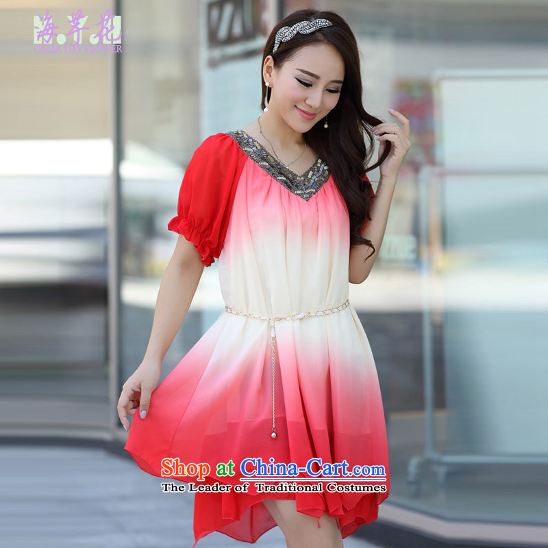 The sea route to spend the new liberal chiffon version to intensify the Korean version of large dresses 126-3G Code Red gradient燤