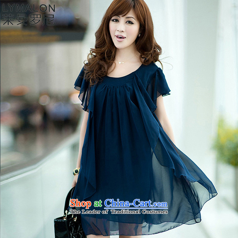 The lymalon2015 lehmann spring and summer new Korean version of large numbers of ladies stylish sleek beauty chiffon loose short-sleeved round-neck collar dresses 925 Blue�L