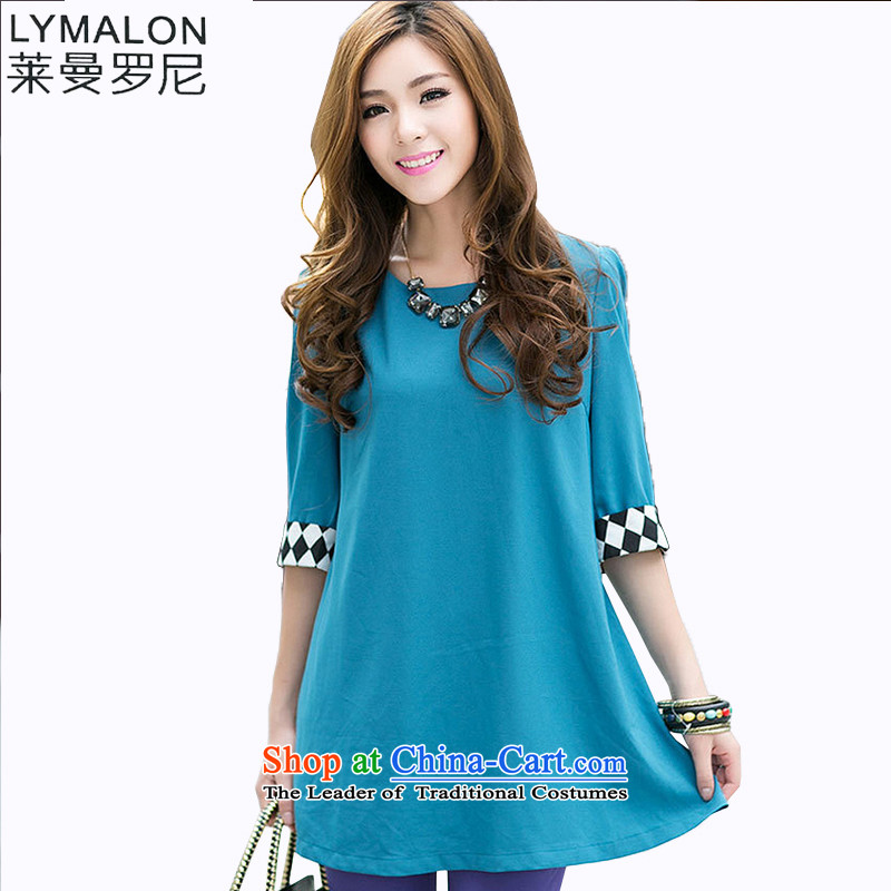 The lymalon lehmann thick, Hin thin spring and autumn 2015 new product version of large Korean women's code in stylish Sau San cuff round-neck collar chiffon Netherlands 3018 Blue聽XL