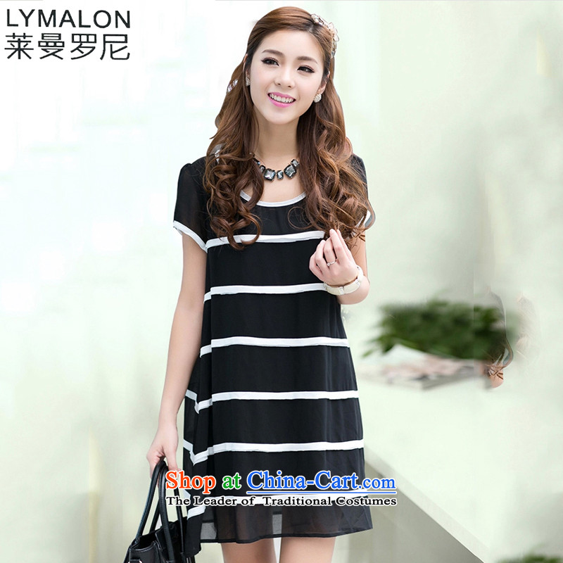 The lymalon lehmann thick, Hin thin Summer 2015 new product version of large Korean women's code stylish short-sleeved streaks chiffon dresses Q3005 black燤