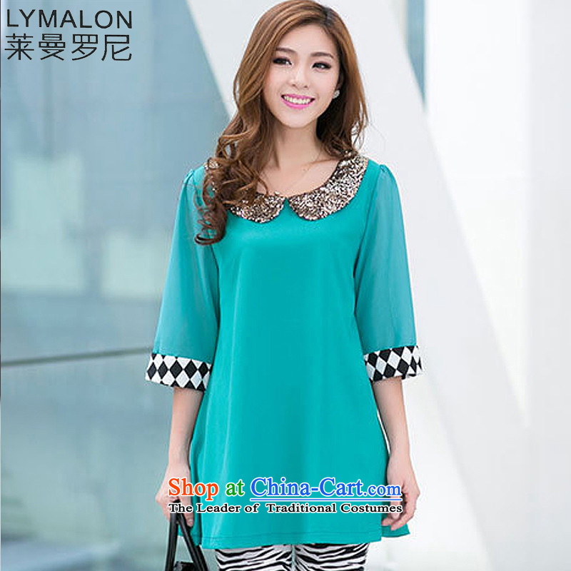 The lymalon lehmann thick, Hin thin spring and autumn 2015 new product version of large Korean women's code Sleek and versatile in Sau San cuff chiffon shirt Q3023 green M