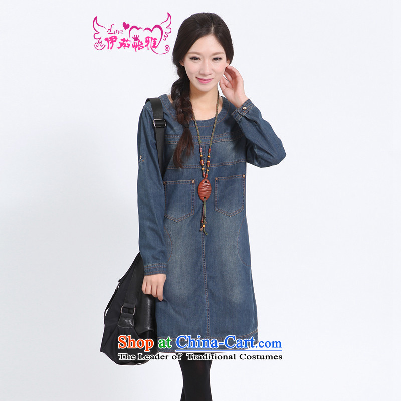 El-ju Yee Nga Chau replace larger female loose thick sister mom with long-sleeved cowboy MM dresses YY1182 Denim blue short-sleeve聽XL