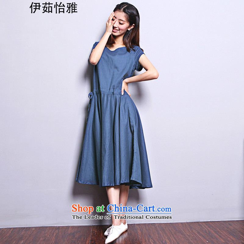 El-ju Yee Nga summer larger female thick sister video in thin long short-sleeved cotton linen dresses YQ9183 navy燲XL